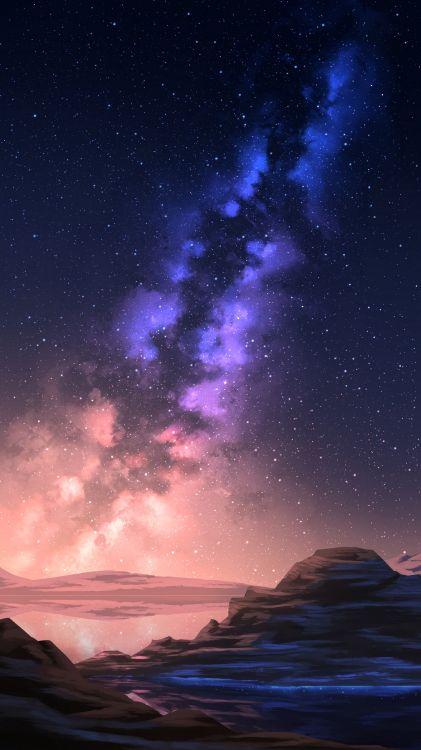 Обои атмосфера, Галактика, пурпур, ночь, Астрономия в разрешении 2700x4800