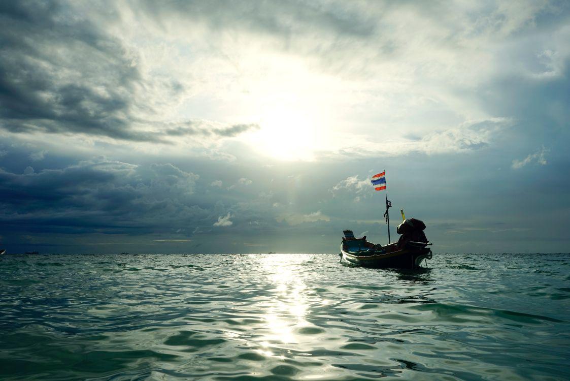 Обои лодка, закат, горизонт, небо, спокойный в разрешении 6766x4516
