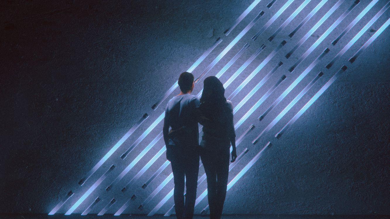 Обои спотифай, свет, темнота, музыка, тень в разрешении 3000x1687