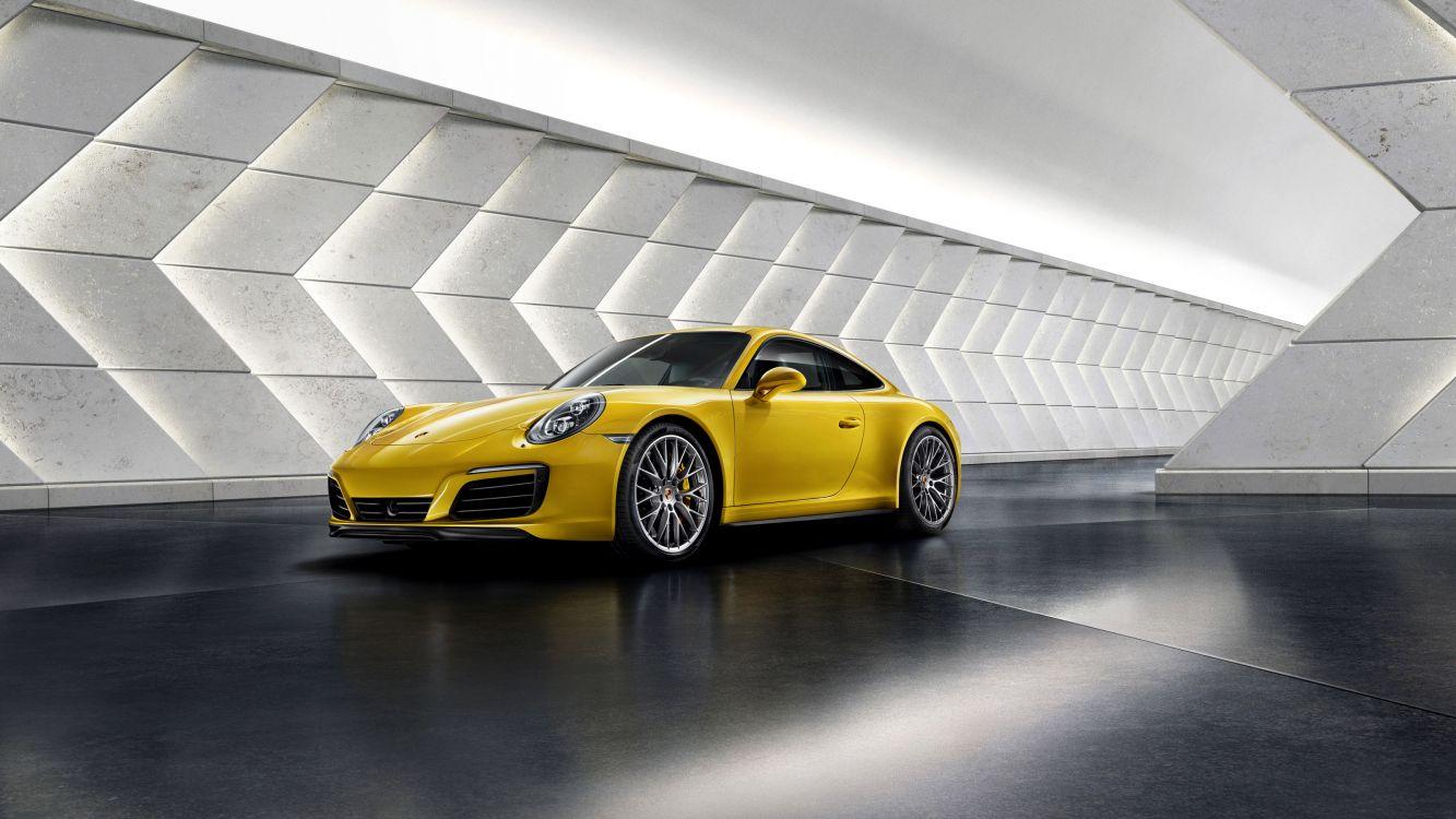 Обои Порше 911, Порше, авто, желтый, спорткар в разрешении 3200x1800