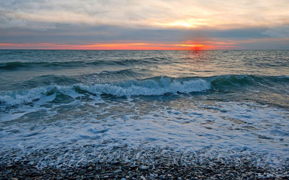 Обои волны, горизонт. Природа foto 12