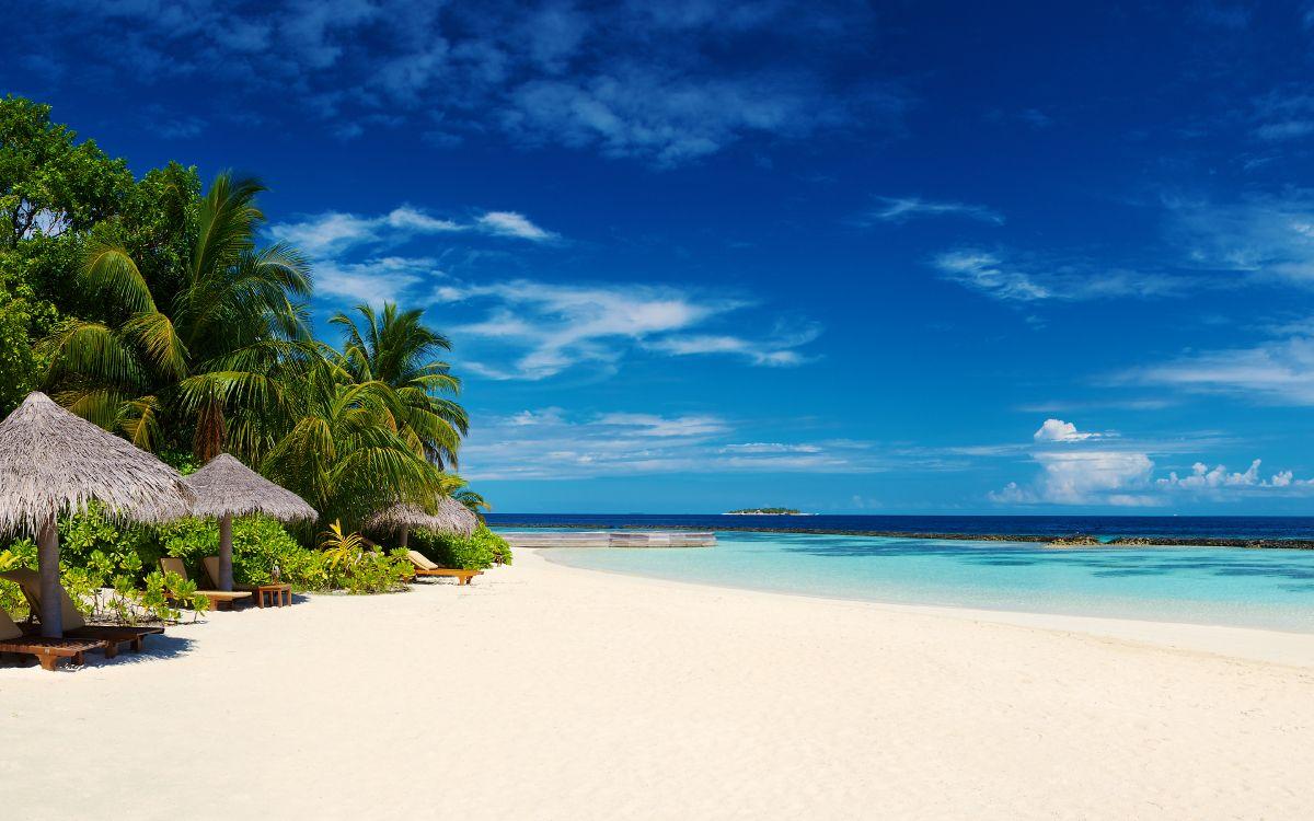 Обои водоем, тропическая зона, пляж, синий, природа в разрешении 3840x2400
