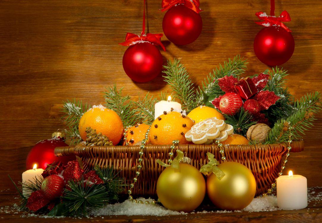 Обои Новый год, декор, рождественский орнамент, Рождество, фрукты в разрешении 4680x3240