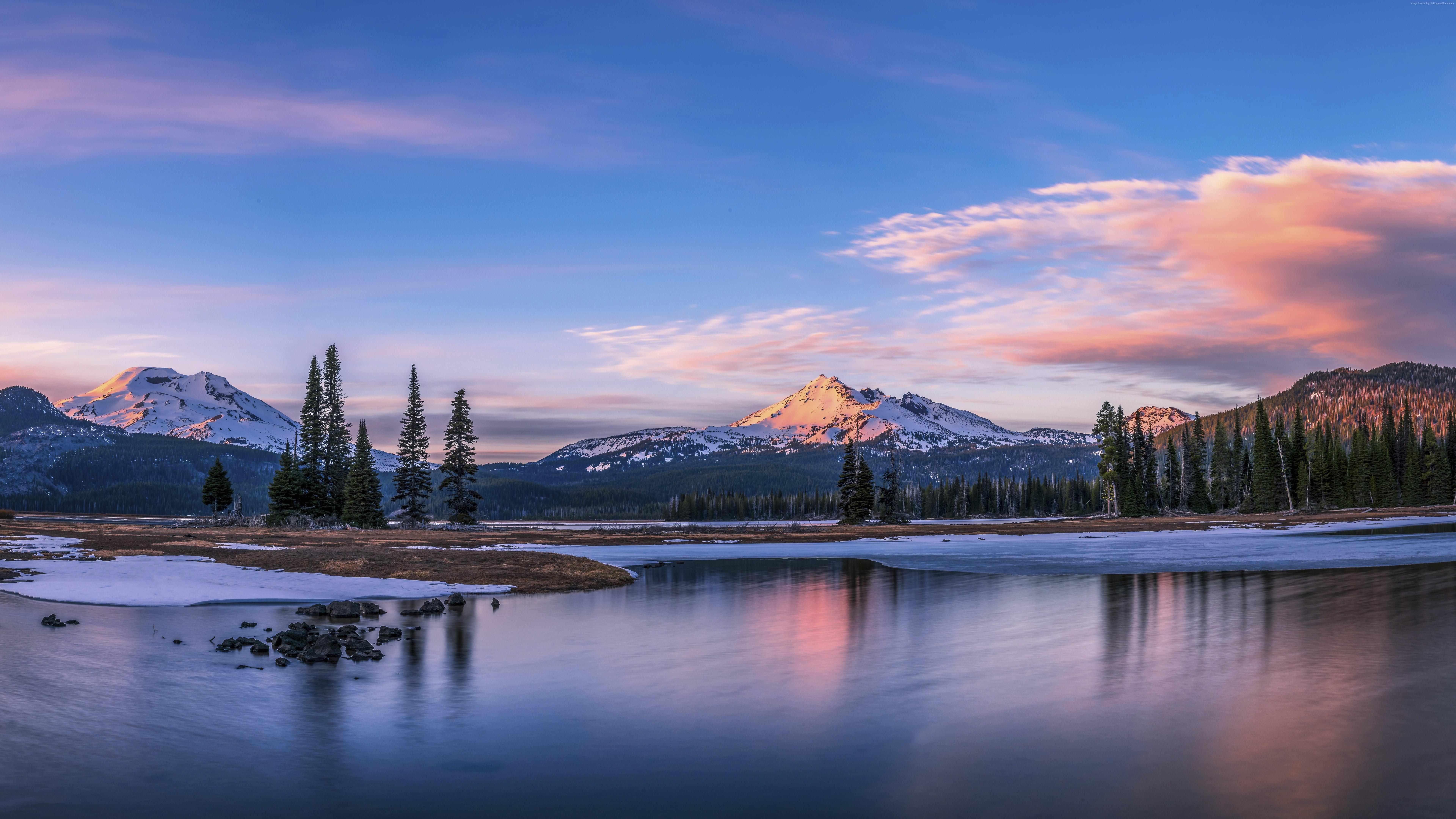 Обои природа, отражение, гора, дикая местность, вода в разрешении 3840x2160